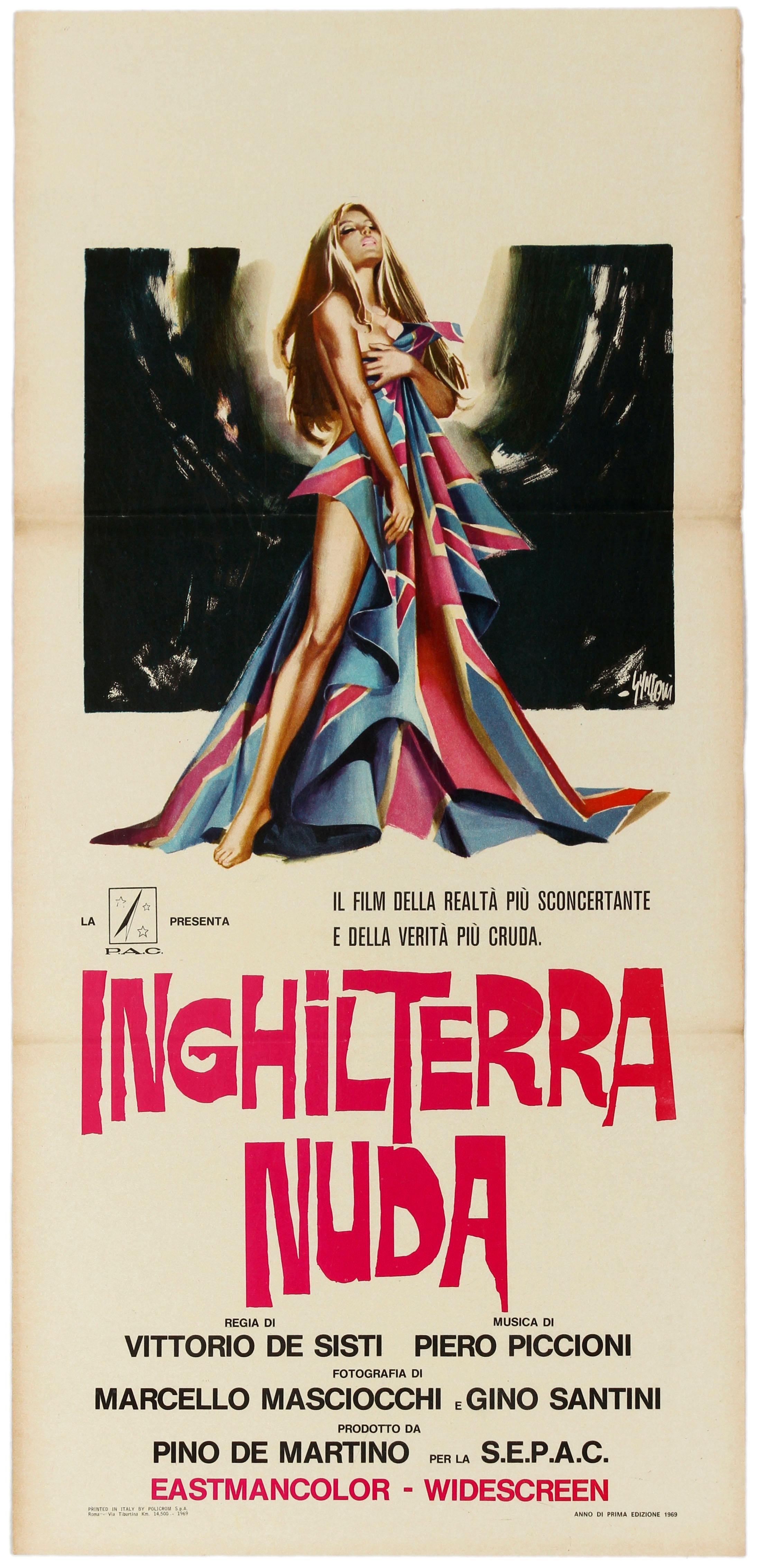 Original Vintage Poster Inghilterra Nuda Naked England Italian Documentary Film