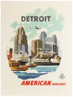 Original Vintage Poster Detroit American Airlines AA Travel City Design Michigan