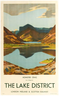 Original Vintage Poster LMS Railway Travel Lake District Honister Crag Mountains