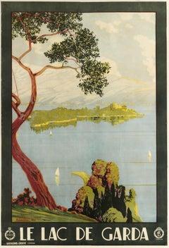 Original Vintage Poster For Le Lac De Garda ENIT Travel Sailing Italy Lake Garda