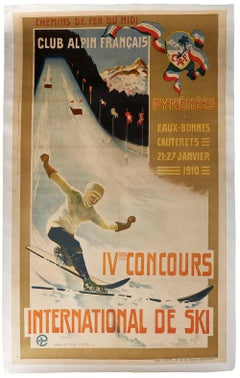 Original Antique Poster IV Concours International De Ski Jump Alpine Club France