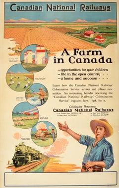 Original Vintage Poster Canadian National Railways A Farm In Canada Colonization