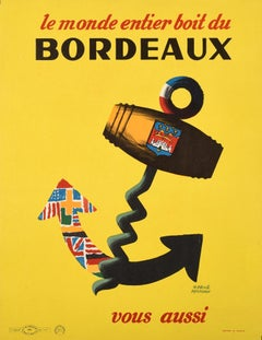 Original Vintage Poster World Drinks Bordeaux Wine France Anchor Flags Corkscrew