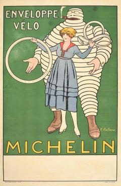 Original Antique Poster Michelin Man Bicycle Tyres Tires Iconic Bibendum Design