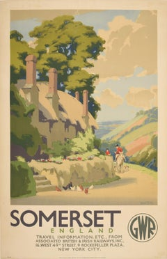Original Vintage Poster Somerset GWR Great Western Railway Travel West Country