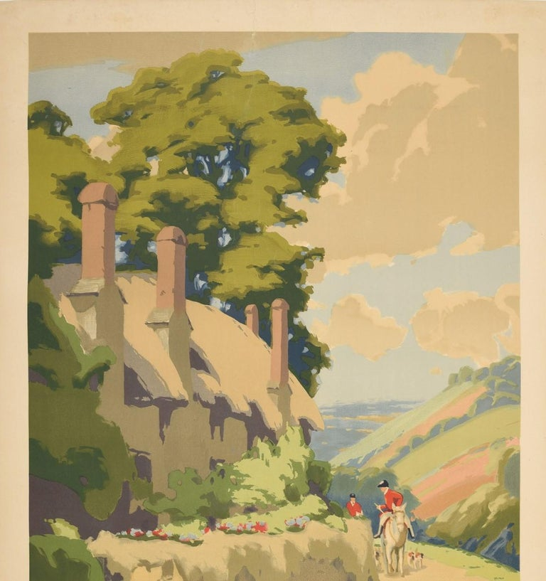 Original vintage GWR Great Western Railway poster for Somerset featuring a scenic countryside view by Herbert Alker Tripp (1883-1954) of trees behind and flowers on the grass in front a traditional thatched cottage with a fox hunter wearing a smart
