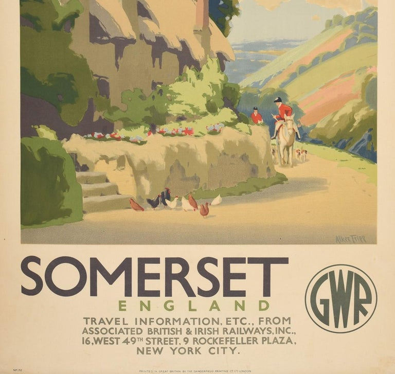 Original Vintage Poster Somerset GWR Great Western Railway Travel West Country For Sale 1
