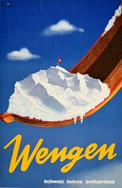 Original Vintage Poster Wengen Switzerland Winter Sport Skiing Swiss Alps Resort