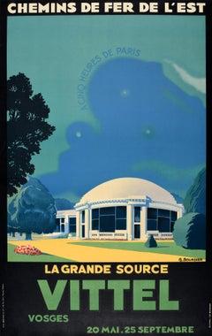 Original Vintage Poster La Grande Source Vittel Train 5 Hours From Paris Railway