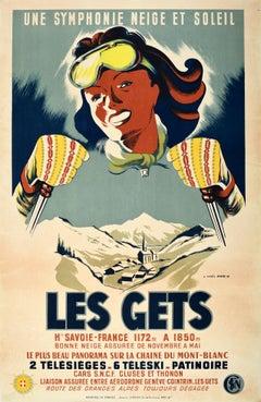 Original Vintage Poster Les Gets Snow & Sunshine Winter Sports Skiing Mont Blanc