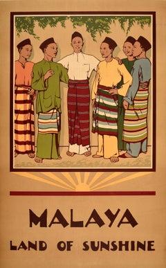 Original Vintage Poster Malaya Land Of Sunshine Malaysia Singapore Travel Design