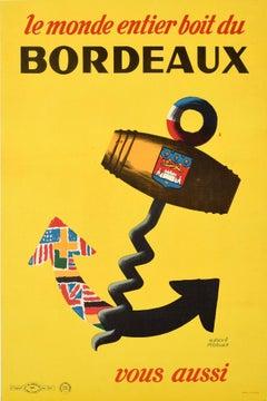 Original Vintage Poster Le Monde Entier Boit Du Bordeaux Wine World Drink France
