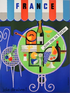 Original Vintage Poster France Joie De La Table Joie De Vivre French Wine & Food