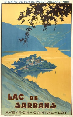 Original Vintage Poster Lac De Sarrans Lake Chemins De Fer Railway Travel France