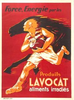 Original Vintage Poster Lavocat Strength Energy Horse Rugby Sport Speed Design