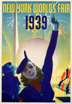 Original Vintage Poster New York World's Fair 1939 Modernist Trylon Perisphere