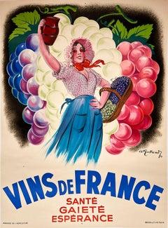 Original Vintage Poster Vins De France Sante Gaiete Esperance French Wine Cheer