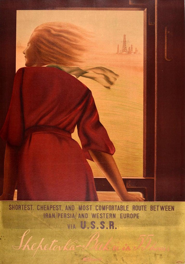 N. Zhukov / A. Chernomordik Print - Original Vintage Poster USSR Intourist Travel Train Railway Shepetovka Baku Oil