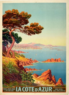 Original Vintage Poster La Cote D'Azur Riviera Mediterranean Sea View Travel Art