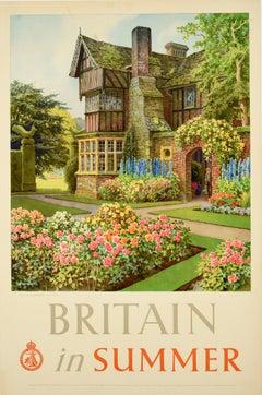 Original Vintage Poster Britain In Summer Travel Country House Landscape Gardens