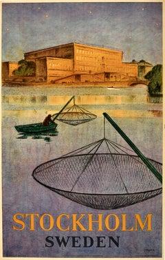 Original Vintage Poster Stockholm Sweden Travel Art Fishing Swedish Royal Palace