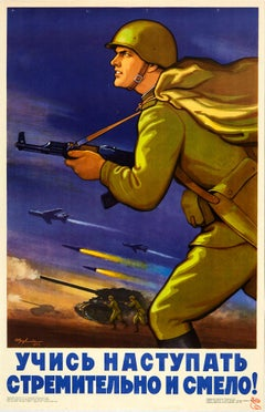 Original Vintage Poster Red Army Cold War Soviet Propaganda Learn To Advance...!