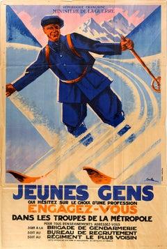 Original Vintage Poster Military Recruitment Troupes De La Metropole French Army