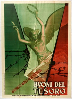 Original Vintage Poster WWII Treasury Bills Vittoria Victory War Bonds Italy
