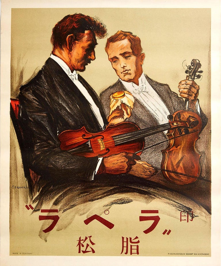 Stenzel Print - Original Vintage Poster Wood Wax Violin Classical Music Concert Art Japanese Ad