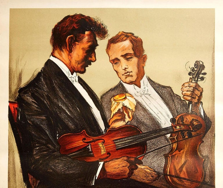 Original Vintage Poster Wood Wax Violin Classical Music Concert Art Japanese Ad - Print by Stenzel