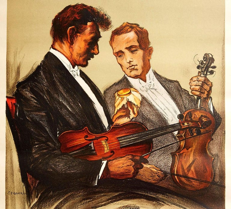 Original vintage poster featuring great artwork of two musicians in smart suits holding their violins with one man holding his dull looking violin and admiring the shiny waxed violin of the other, achieved by using the pot of wood wax being
