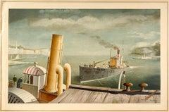 Original Vintage Poster Drifter & Paddle Steamers Seascape Ship Art School Print