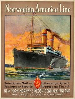 Original Vintage Poster Norwegian America Line New York Norway Ocean Cruise Ship