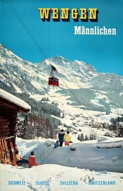 Original Vintage Poster Wengen Mannlichen Mountains Swiss Alps Ski Winter Sport