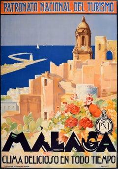 Original Vintage Poster Malaga Cathedral Sailing Mediterranean Sea Travel PNT