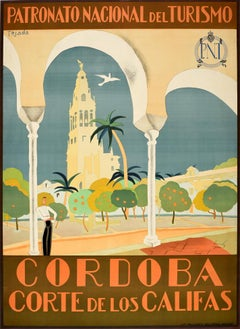 Original Vintage Travel Poster Cordoba Corte De Los Califas Court Of The Caliphs