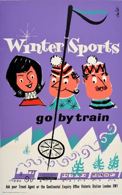 Original Vintage Poster Winter Sports Go By Train British Railways Skiing Europe