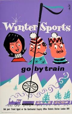 Original Vintage Poster Winter Sports Go By Train British Railways Skiing Europe