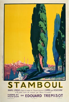 Original Vintage Poster Stamboul Music Theatre Drama Play Istanbul Turkey Design