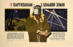 Original Vintage War Poster Soviet Pilot Civil Air Fleet Partisans USSR WWII