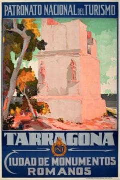 Original Vintage Travel Poster Tarragona Roman Monuments Torre De Los Escipiones