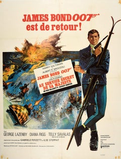 Original Vintage Film Poster James Bond On Her Majesty's Secret Service 007 Skis