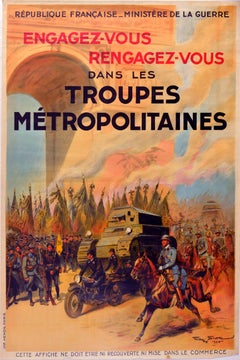 Original Vintage Poster French Army Recruitment Metropolitan Troops Cavalry Tank