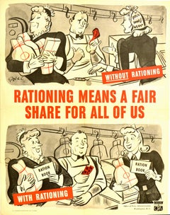 Original Vintage Poster WWII Rationing Means A Fair Share Food War Ration Book