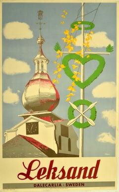 Original Vintage Poster Leksand Dalecarlia Sweden Travel Clock Dome Architecture