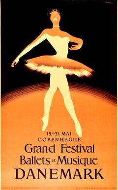 Original Vintage Poster Grand Festival Ballets Musique Music Dance Ballerina Art