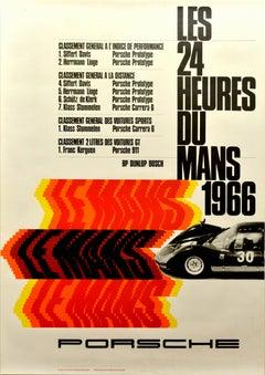 Original Vintage Porsche Poster Le Mans 1966 24 Hour Grand Prix Race Motor Sport