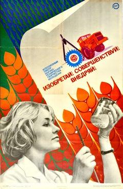Original Vintage Motivation Poster Soviet Innovation Science Agriculture USSR