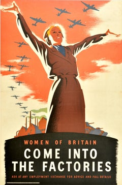Original Vintage WWII Poster Women Of Britain Come Into The Factories War Effort