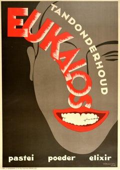 Original Vintage Poster Tandonderhoud Eukalos Elixir Toothpaste Art Deco Design